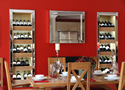 Contemporary kitchen - table and wine racks